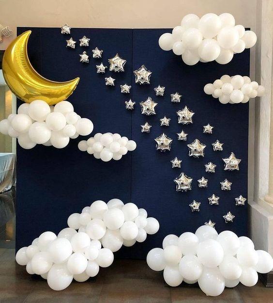 Φόντο φωτογράφισης για πάρτυ με μπαλόνια :CLOUDY NIGHT backdrop