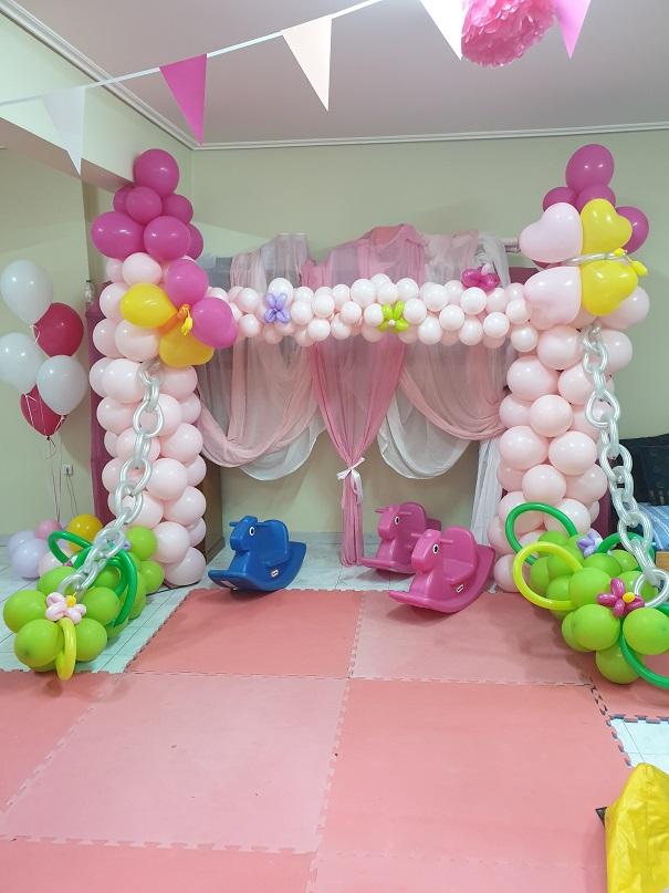 Φόντο φωτογράφισης για πάρτυ με μπαλόνια : ΡΟΖ ΚΑΣΤΡΑΚΙ