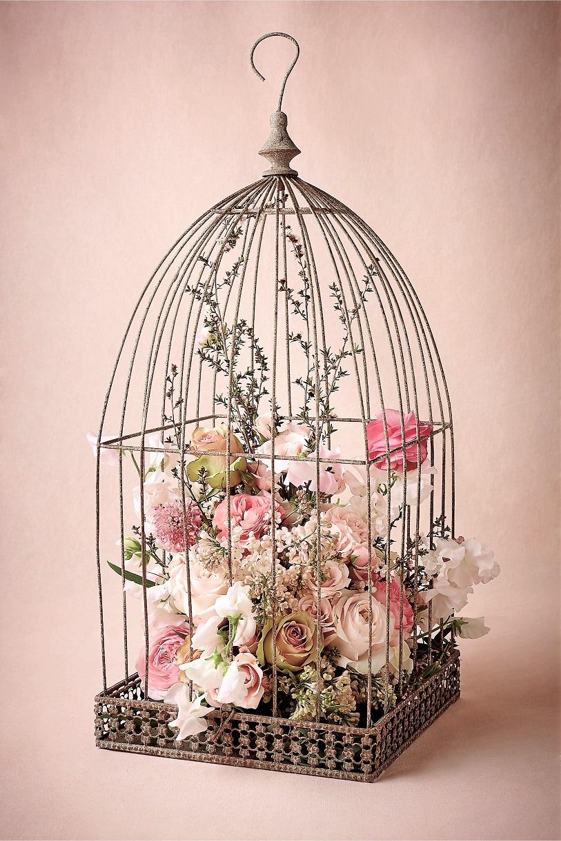 Διακόσμηση τραπεζιών : Κλουβιά με λουλούδια
